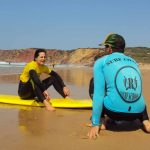 Techniques on the shore, beginners learn and practice with R Star Carrapateira surf school, Amado beach, Algarve
