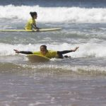 fun ride, first exercises of beginners steps, R STAR surf school giving formation Carrapateira south of Portugal, Algarve region